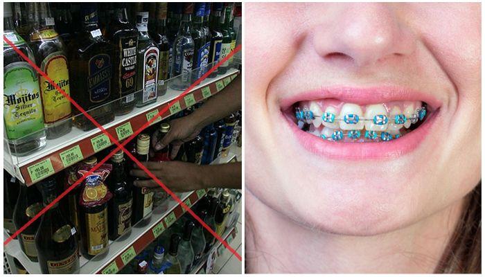 Алкоголь и брекеты на зубах