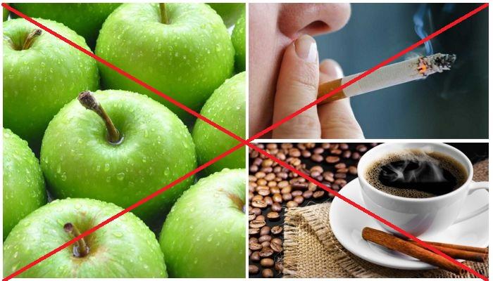 Отказ от курения, кофе и твердой еды